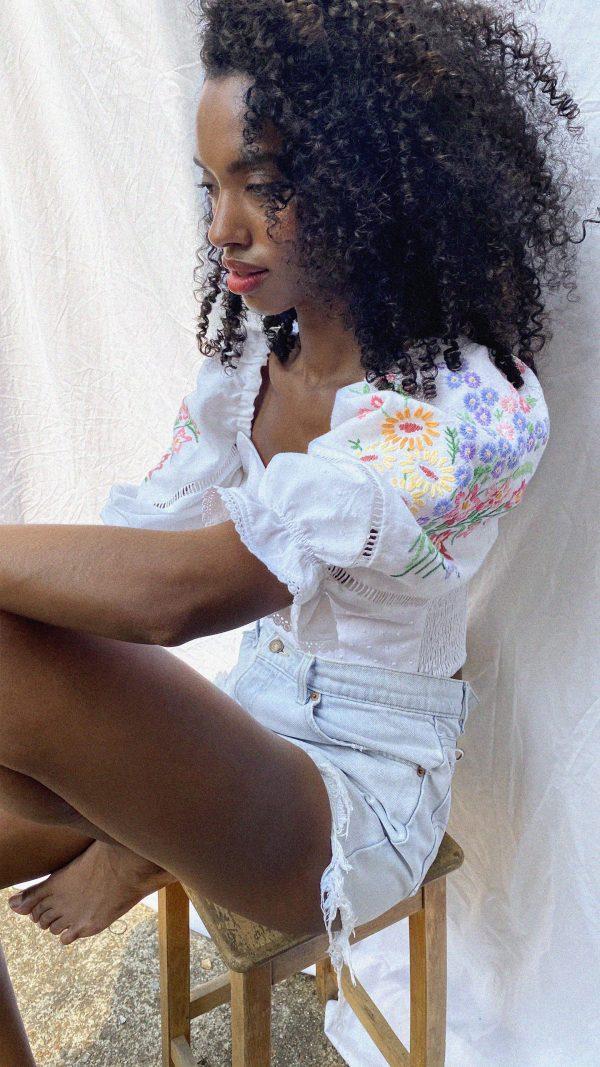 Vintage embroidered floral sleeves