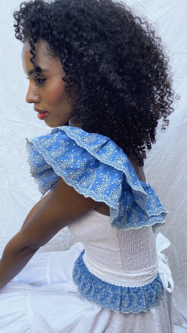Blue broderie anglaise wings and belt