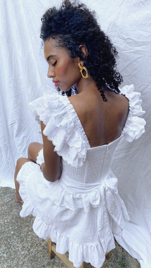 white broderie anglaise wings and belt