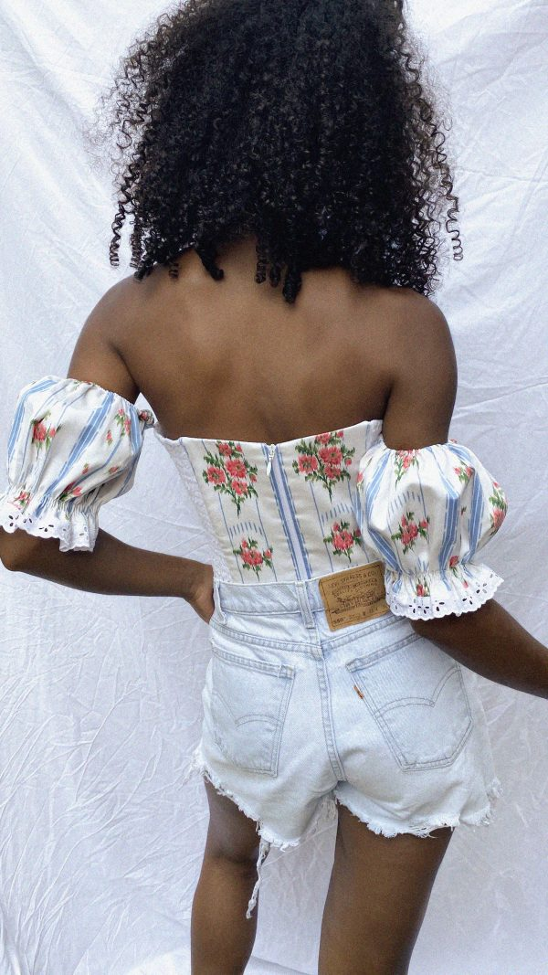 Vintage ribbons and roses corset