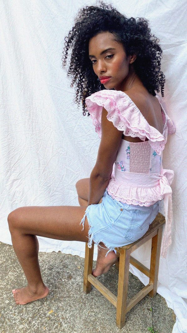Pink Broderie anglaise wings and belt